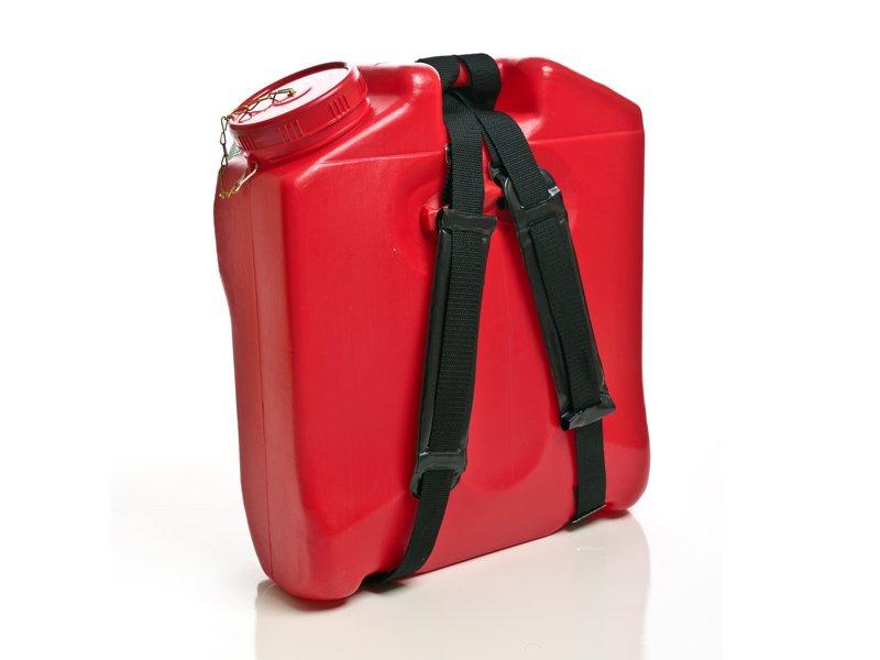 Rega red 16 litre fire fighting backpack with black shoulder straps
