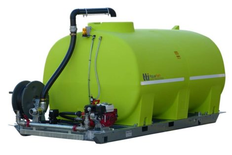 6000 litre water tank skid mounted unit with pump and hose reel
